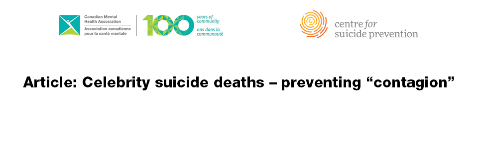 "Celebrity Suicide Deaths – Preventing ""contagion"""